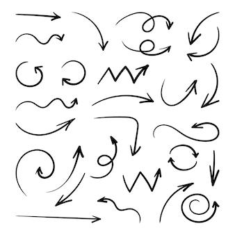 Hand getekende pijl. schets overzicht eenvoudig ontwerpelement. handgetekende pijlen.