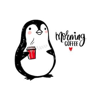 Hand getekende pinguïn met kopje koffie. doodle schattige dieren illustratie.