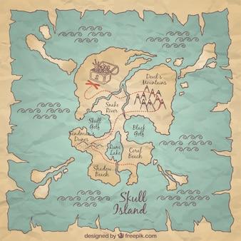 Hand getekende piraat kaart achtergrond