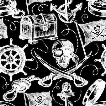 Hand getekende piraat naadloze patroon. schets vectorillustratie