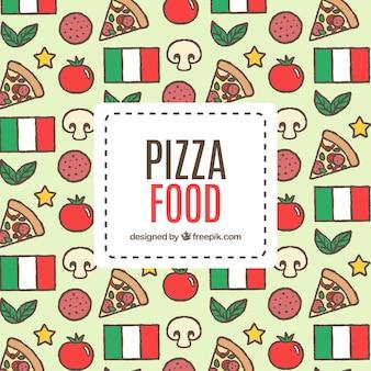 Hand getekende pizza achtergrond en italië vlag