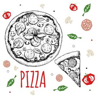 Hand getekende pizza pepperoni ontwerpsjabloon. traditioneel italiaans eten in schetsstijl. doodle platte ingrediënten. hele pizza en plak. het beste voor het ontwerpen van menu's, posters en flyers. vector illustratie.