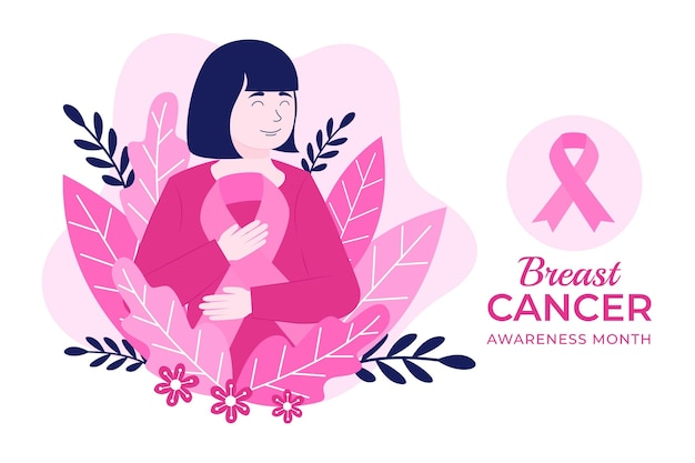 Hand getekende platte borstkanker bewustzijn maand achtergrond