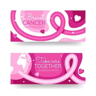 Hand getekende platte borstkanker bewustzijn maand horizontale banners set