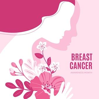 Hand getekende platte borstkanker bewustzijn maand illustratie