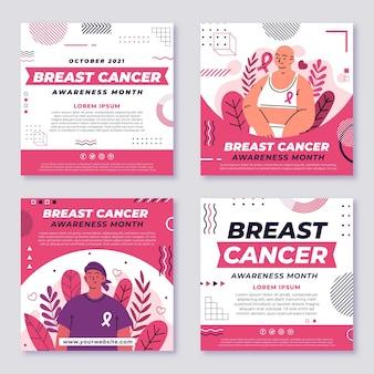 Hand getekende platte borstkanker bewustzijn maand instagram posts collectie