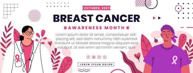 Hand getekende platte borstkanker bewustzijn maand sociale media voorbladsjabloon