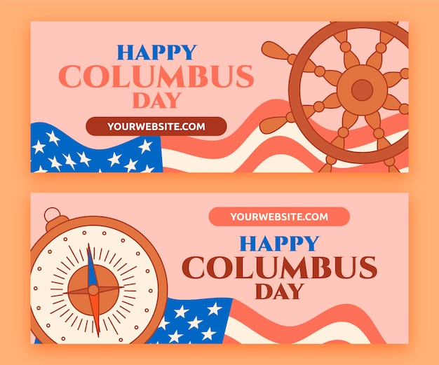 Hand getekende platte columbus dag banners set
