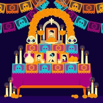 Hand getekende platte dia de muertos familie huis altaar illustratie Gratis Vector