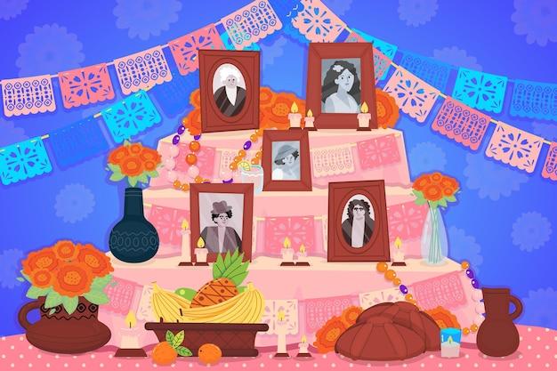 Hand getekende platte dia de muertos familie huis altaar illustratie