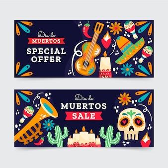 Hand getekende platte dia de muertos horizontale verkoop banners set
