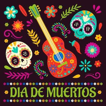 Hand getekende platte dia de muertos illustratie