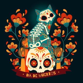 Hand getekende platte dia de muertos illustrationn Gratis Vector