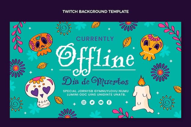 Hand getekende platte dia de muertos twitch achtergrond