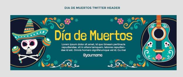 Hand getekende platte dia de muertos twitter voorbladsjabloon