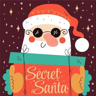 Hand getekende platte geheime santa illustratie met santa die aanwezig is