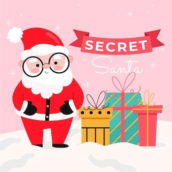 Hand getekende platte geheime santa illustratie met santa en geschenken