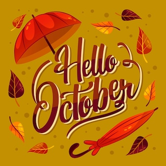 Hand getekende platte hallo oktober belettering