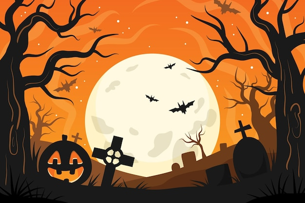 Hand getekende platte halloween-achtergrond