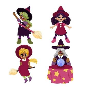 Hand getekende platte halloween heksen collectie