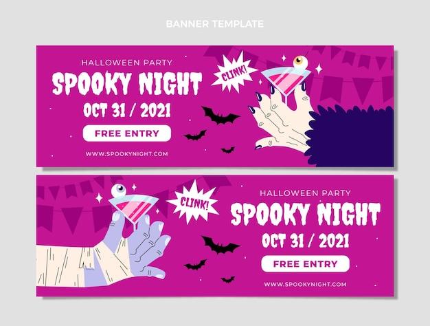 Hand getekende platte halloween horizontale banners set