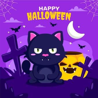 Hand getekende platte halloween kat illustratie