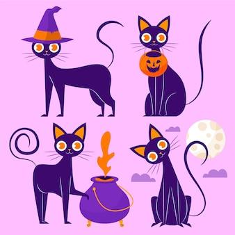Hand getekende platte halloween katten illustratie