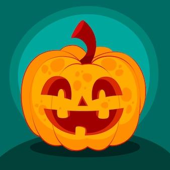 Hand getekende platte halloween pompoen illustratie