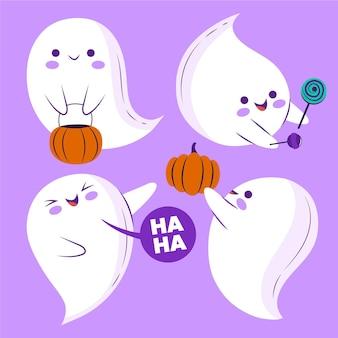 Hand getekende platte halloween spoken illustratie