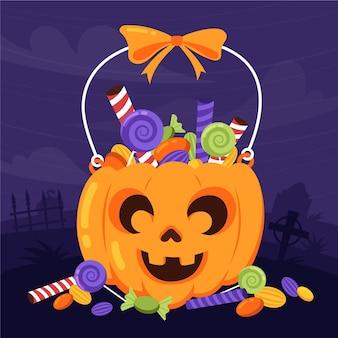 Hand getekende platte halloween tas illustratie