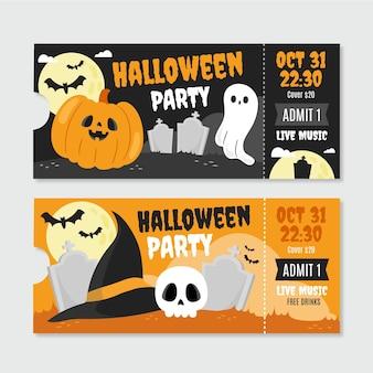 Hand getekende platte halloween tickets set