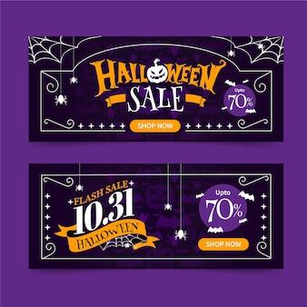 Hand getekende platte halloween verkoop banners set