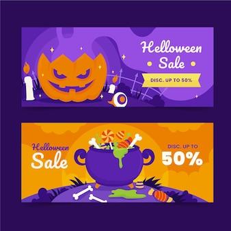 Hand getekende platte halloween verkoop horizontale banners set