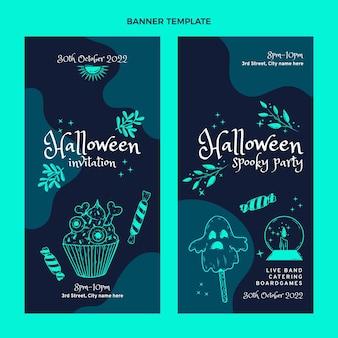 Hand getekende platte halloween verticale banners set