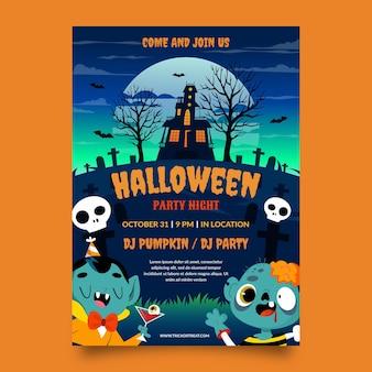 Hand getekende platte halloween verticale partij poster sjabloon