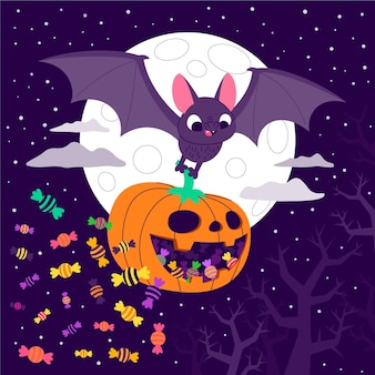 Hand getekende platte halloween vleermuis illustratie