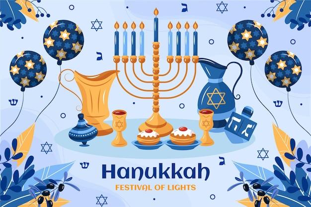 Hand getekende platte hanukkah illustratie