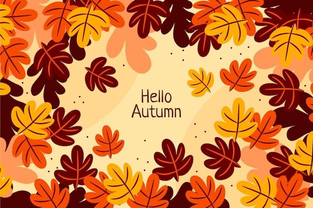 Hand getekende platte herfst achtergrond