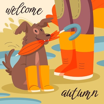 Hand getekende platte herfst illustratie met hond met paraplu