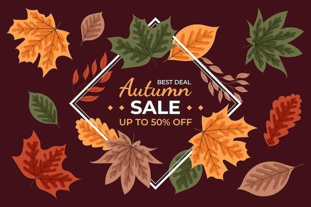 Hand getekende platte herfst verkoop achtergrond