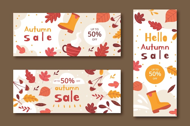 Hand getekende platte herfst verkoop banners set