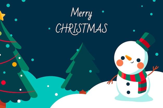 Hand getekende platte kerst achtergrond met sneeuwpop zwaaien