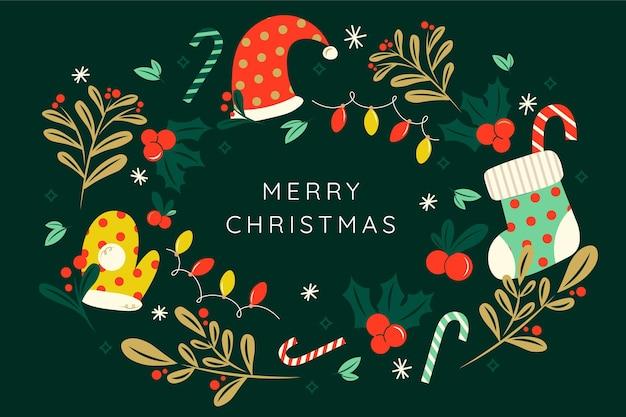 Hand getekende platte kerst achtergrond