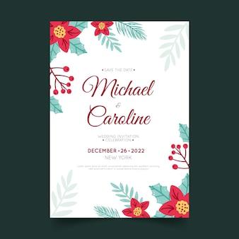 Hand getekende platte kerst bruiloft uitnodiging sjabloon