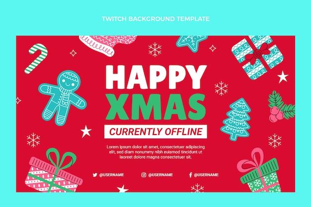 Hand getekende platte kerst twitch achtergrond
