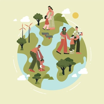 Hand getekende platte klimaatverandering concept illustratie
