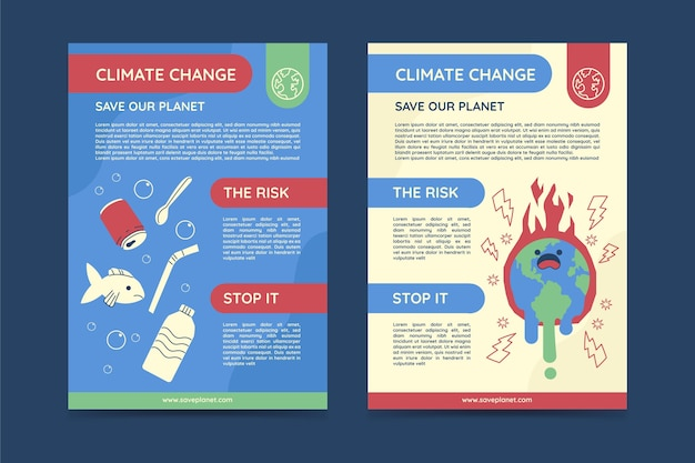 Hand getekende platte klimaatverandering verticale flyers sjabloon