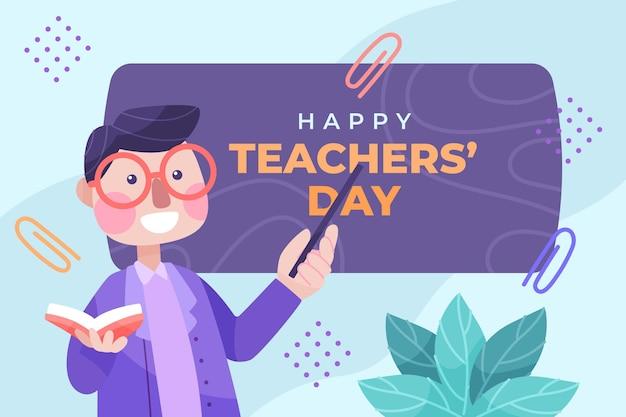 Hand getekende platte lerarendag achtergrond met mannelijke leraar met boek