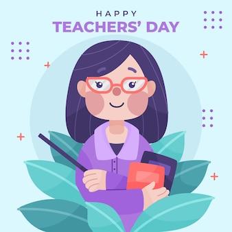 Hand getekende platte lerarendag illustratie met vrouwelijke leraar in glazen