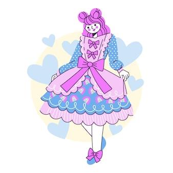 Hand getekende platte lolita stijl meisje illustratie